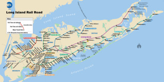 Cartina della rete ferroviaria Long Island Rail Road (LIRR)